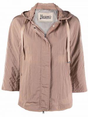 Розовая облегченная куртка с капюшоном Herno