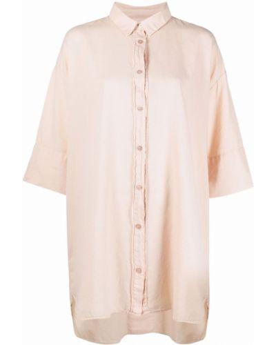 Хлопковая розовая классическая рубашка с короткими рукавами Kristensen Du Nord