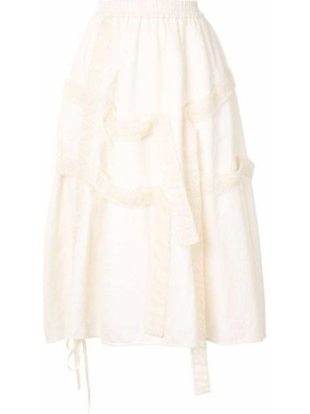 Хлопковая с завышенной талией юбка миди с поясом со вставками Renli Su