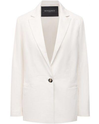 Кожаный белый пиджак с подкладкой Simonetta Ravizza