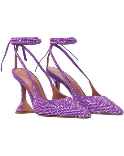 Фиолетовые замшевые туфли-лодочки на каблуке Amina Muaddi