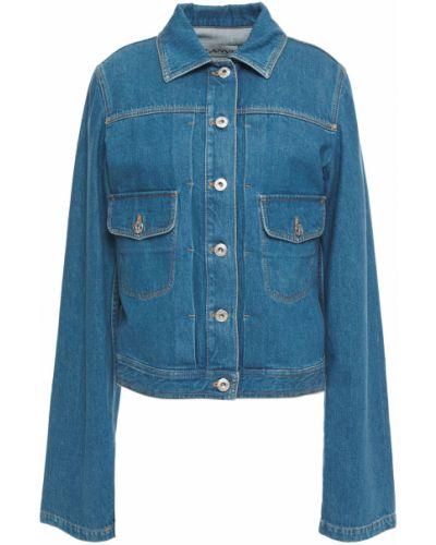 Ватная синяя кожаная джинсовая куртка Lanvin