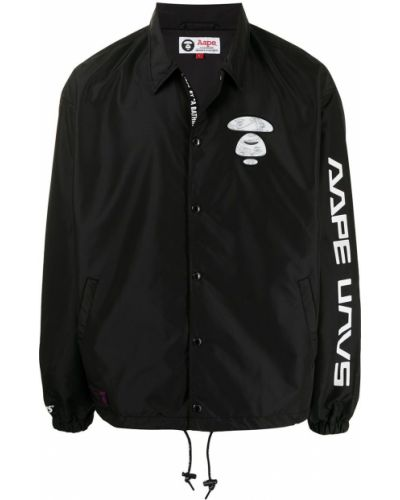 Черная классическая рубашка с воротником на кнопках Aape By A Bathing Ape