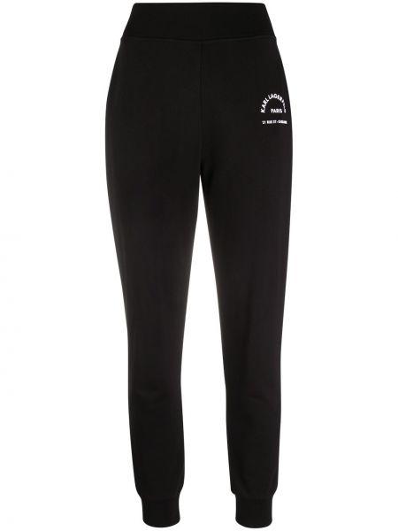 Хлопковые спортивные брюки - черные Karl Lagerfeld