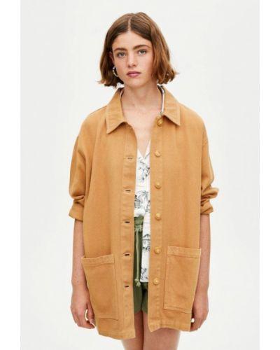 Джинсовая куртка осенняя коричневая Pull&bear