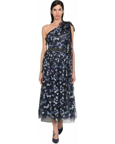 Синее платье с пайетками свободного кроя Luisa Beccaria