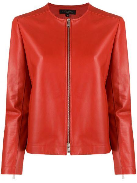 Красная кожаная длинная куртка с карманами Antonelli