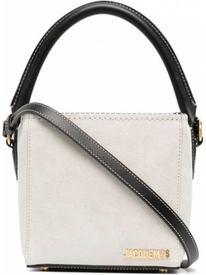 Белая кожаная сумка на плечо круглая Jacquemus