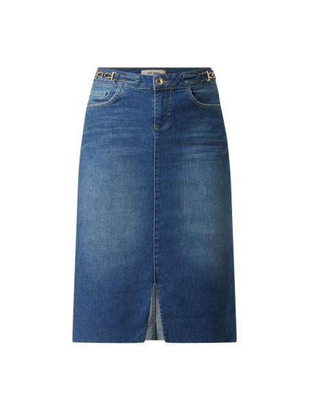 Niebieska spódnica jeansowa z wysokim stanem bawełniana Mos Mosh