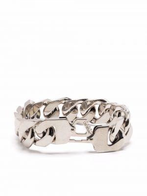 Bransoletka łańcuch srebrna - biała Off-white