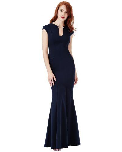 Синее вечернее платье без рукавов с круглым вырезом City Goddess