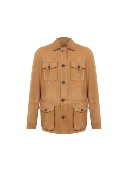 Замшевая кожаная куртка - коричневая Andrea Campagna