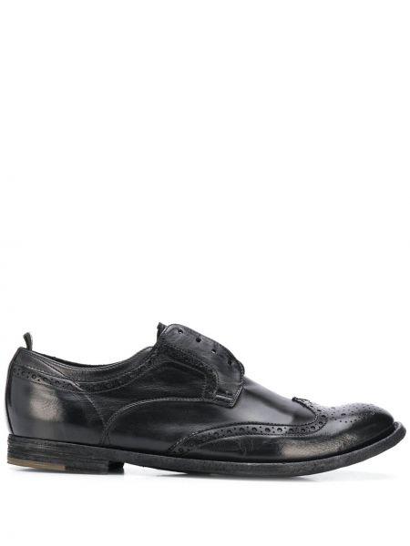 Czarny buty brogsy z prawdziwej skóry na pięcie Officine Creative