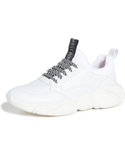 Koronkowa biały włókienniczy sneakersy na sznurowadłach Moschino
