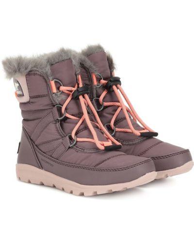 Fioletowe ankle boots skorzane Sorel Kids
