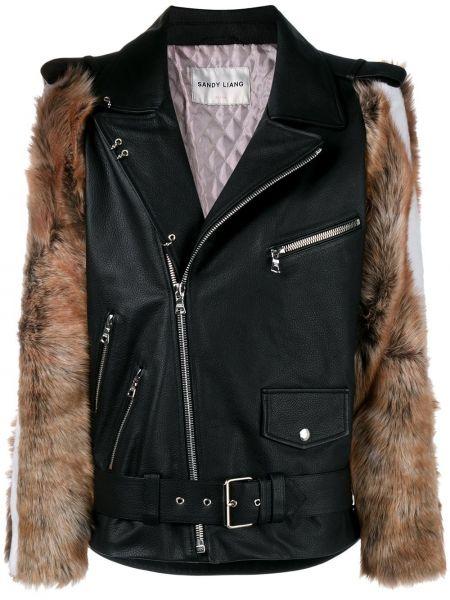 Черная кожаная куртка Sandy Liang