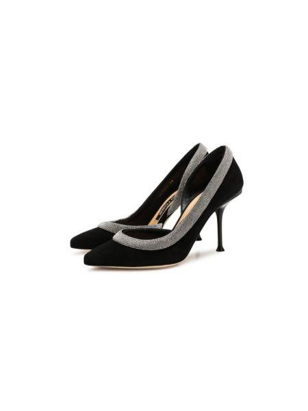 Замшевые туфли черные Sergio Rossi