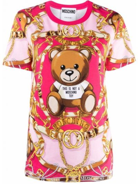 Розовая футболка с короткими рукавами Moschino