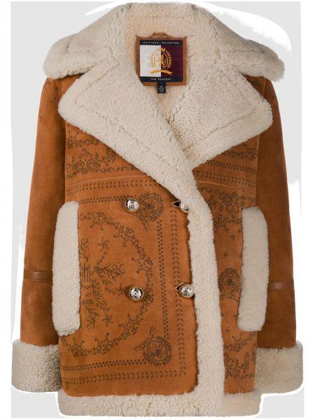 Коричневое кожаное длинное пальто оверсайз Tommy Hilfiger