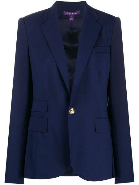 Синий приталенный прямой пиджак на пуговицах Ralph Lauren