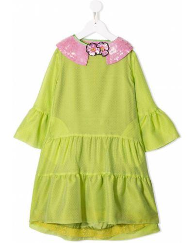 Платье с рукавами зеленый с пайетками Mi Mi Sol