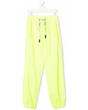 Хлопковые спортивные желтые брюки с поясом Natasha Zinko Kids