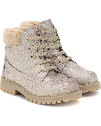 Włókienniczy buty z brokatem złoto Monnalisa