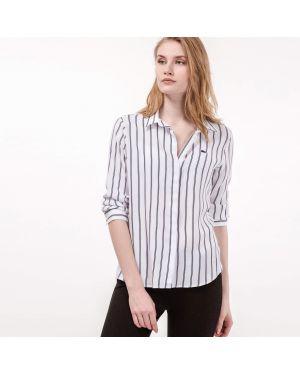Рубашка белая в полоску Lacoste