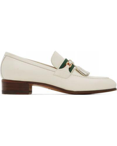 Brązowy loafers z frędzlami z prawdziwej skóry kaskada Gucci