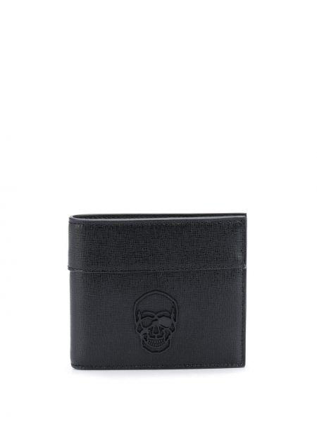 Czarny portfel z prawdziwej skóry z gniazdem z czaszkami Philipp Plein