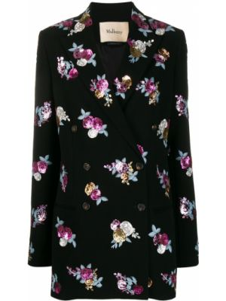 Черный пиджак двубортный с карманами Mulberry