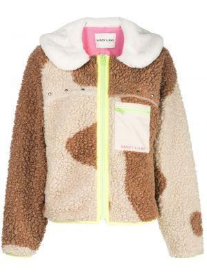 Флисовая коричневая куртка на молнии Sandy Liang