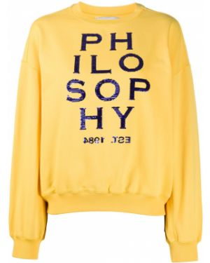 Желтый длинный свитер с вышивкой в рубчик Philosophy Di Lorenzo Serafini