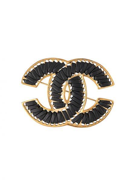 Skórzany czarny broszka pozłacany Chanel Pre-owned