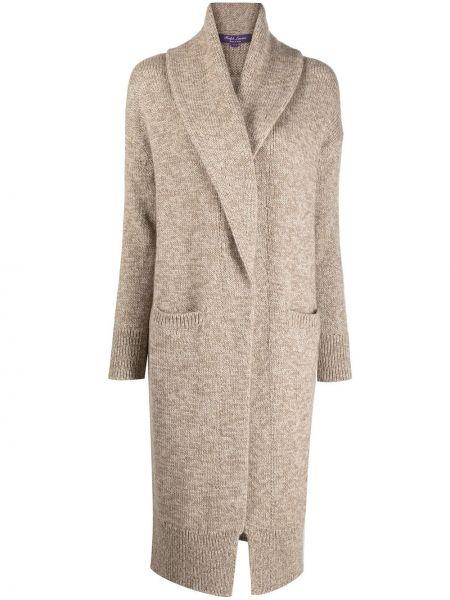 Фиолетовое кашемировое длинное пальто с запахом Ralph Lauren Purple Label