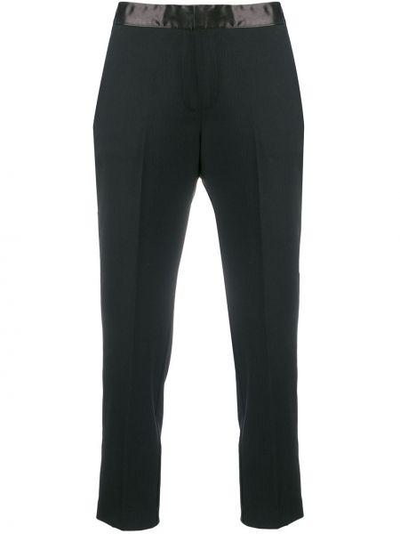 Шерстяные черные укороченные брюки с карманами на крючках Semicouture