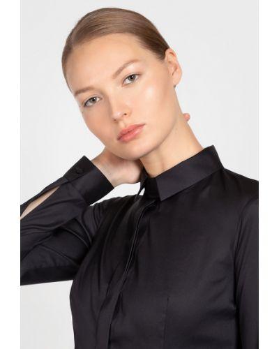 Блузка с длинным рукавом приталенная черная Vassa&co