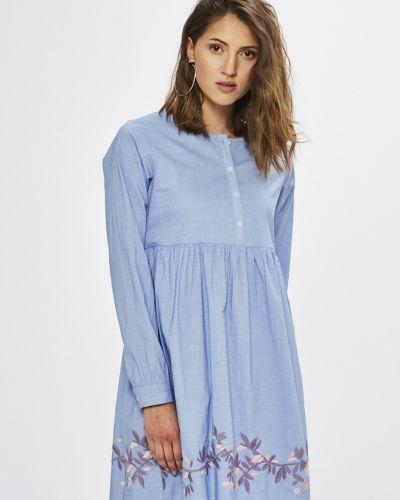Платье мини с вышивкой однотонное Sh