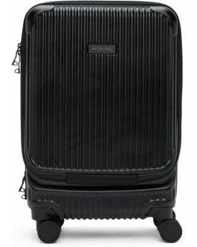 Włókienniczy czarny walizka prążkowany na paskach Master-piece Co