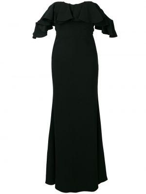 С рукавами шелковое черное вечернее платье Alexander Mcqueen