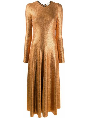 Расклешенное желтое с рукавами платье миди Forte Forte