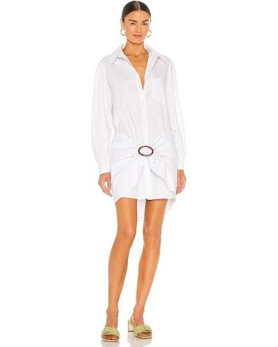 Хлопковое белое джинсовое платье для полных L'academie