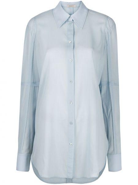 С рукавами синяя рубашка на пуговицах Nina Ricci