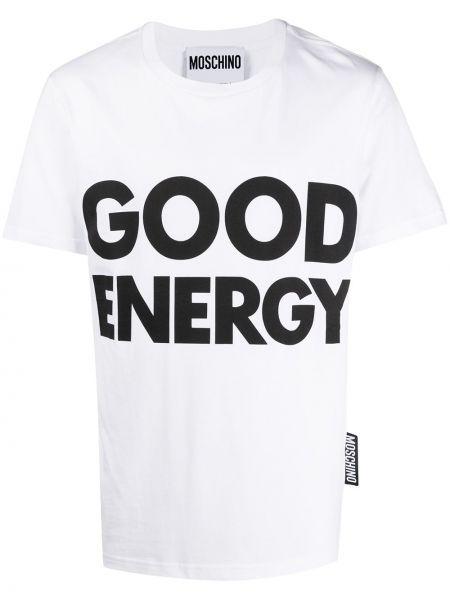 Koszula krótkie z krótkim rękawem prosto z nadrukiem Moschino