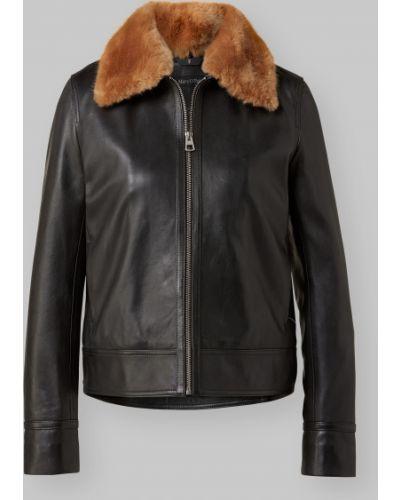 Классическая черная кожаная куртка с воротником из искусственного меха Marc O' Polo