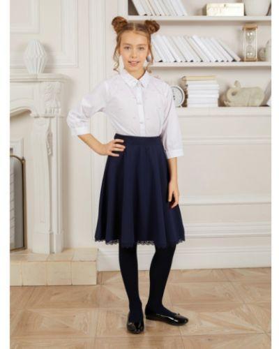 Хлопковая школьная юбка с поясом Luminoso