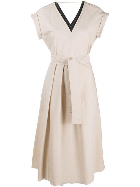 Платье мини миди с V-образным вырезом Brunello Cucinelli