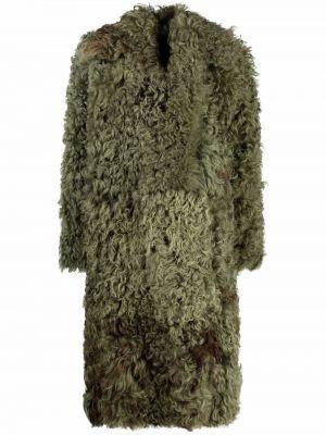 Зеленая кожаная шуба Alberta Ferretti