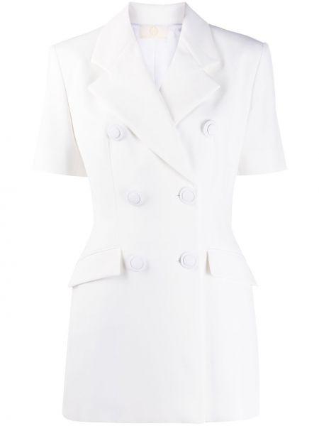 Белый короткая куртка двубортный с короткими рукавами Sara Battaglia