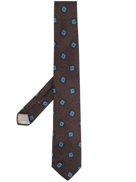 Коричневый шелковый галстук Dell'oglio